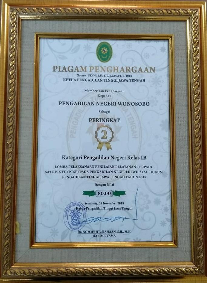 Pengadilan Negeri Wonosobo Mendapat Penghargaan dari Pengadilan Tinggi Jawa Tengah