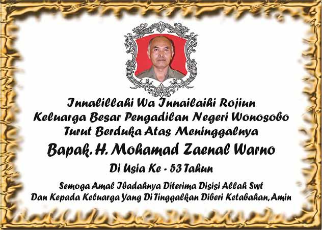 Berita Duka Atas Meninggalnya Bapak H. Mohamad Zaenal Warno